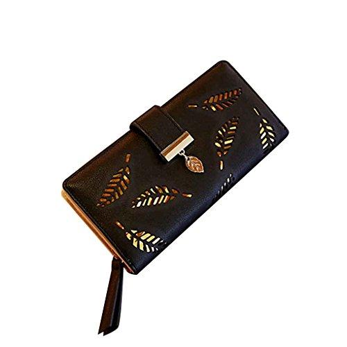 Miaomiao Borsa a freddo della borsa della borsa del supporto della carta di cuoio del raccoglitore del bifold della foglia lunga delle donne nero