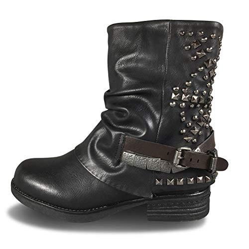Damen Stiefel Biker gefüttert Worker Stiefeletten Nieten Boots Outdoor ST07 (41 EU, Schwarz)