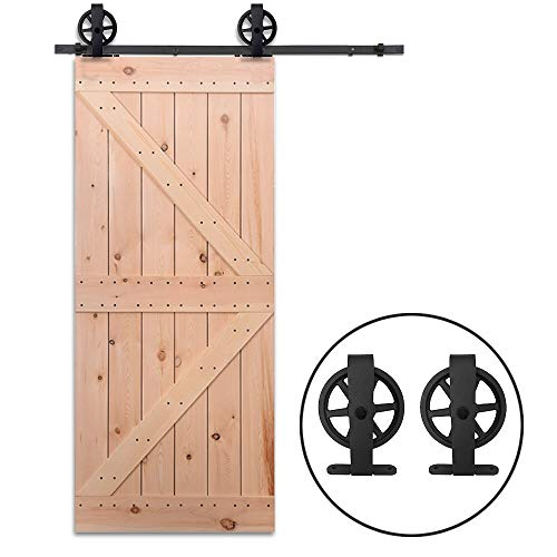 7.5FT/228cm Schiebe Tür-Hardware-Track-Kit Einzeltür Holztür - Sliding Barn Wood Door Hardware Big Wheel Roller Hanger Track Kit For Single Door - Schiebe-tür Tür-hardware Und