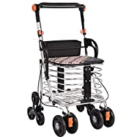 YANWE Portable Folding Elderly Shopping Trolleys, Aluminium Rollators Walkers Stair Climbing, with Padded Seat and Brakes, Height Adjustable, Light And Safe Design