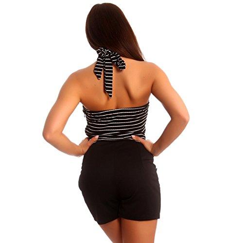 Damen Neckholder Jumpsuit Overall Shorty Schwarz