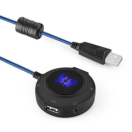 Iitrust USB externe Soundkarte HUB 2 in 1 mit 5 Schnittstelle für Desktops, Notebooks, Tablets, PS4, PS4Slim, PS4Pro und Xbox One (Blau)
