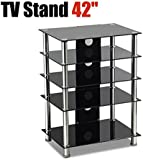 "Black Glass 5-tier Shelf Table LCD LED TV Stand 15""-42"""