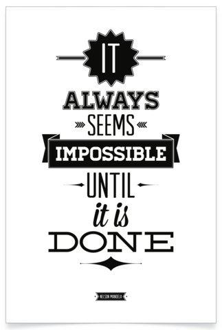 PosterHouse24 PH113A1 Nelson Mandela Poster Motivation Done 235g/qm Premium Satin Fotopapier 61 x 91,5 cm