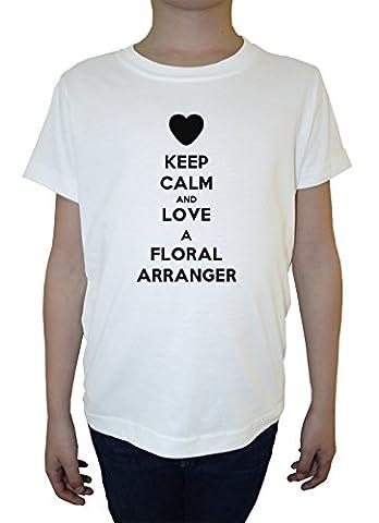 Keep Calm And Love A Floral Arranger Garçon Enfants T-shirt Cou D'équipage Blanc Coton Manches Courtes Boys Kids T-shirt White