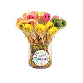 24 x Smile Face Pencils With Novelty Erasers Toppers - Wholesale Bulk Buy