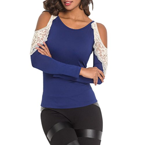 Amlaiworld Sweatshirts Damen Spitze Flickwerk pullis komfortabel