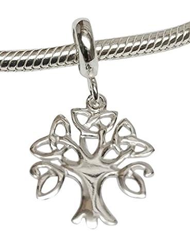 Argent 925 arbre de vie celtique Charm coulissante