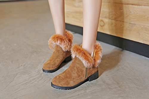 Mee Shoes Damen chunky heels runde Nubukleder Reißverschluss Ankle Boots Braun