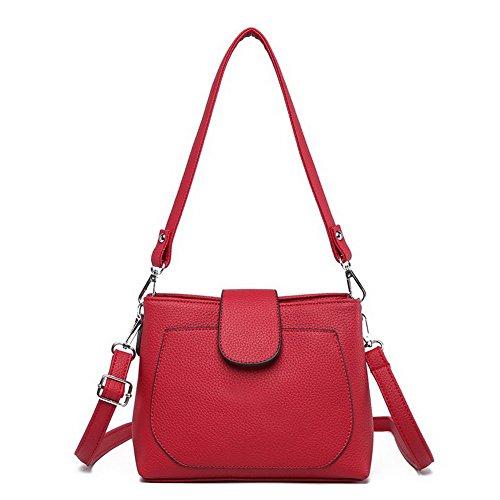 AgooLar Damen Mode Tragetaschen PU Beiläufig Reißverschluss Schultertaschen,GMLBB181275,Rot