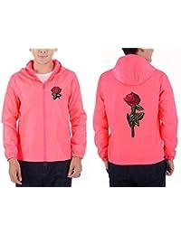 Bordado Rosa Flor Chaqueta Rompevientos Hombres Tamaño Grande S-7Xl con  Capucha Bomber Chaqueta De Piel para Hombre Chaquetas… c02f47dfc2e