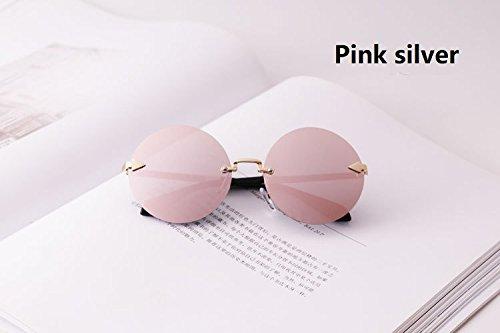 Xinke Kind Polaroid Sonnenbrille Mode Runde Rahmenlose Brille UV400 Spiegel Für Jungen Mädchen Alter 3-10 Jahre (Color : Pink Sliver)
