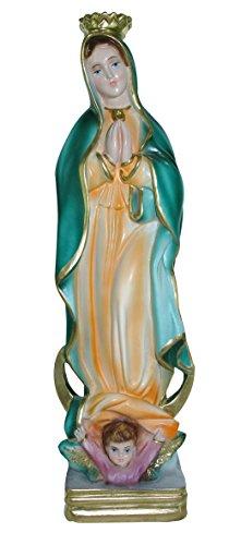 Ferrari & Arrighetti Imagen de la Virgen de Guadalupe de Yeso Perlado Pintada a Mano - 30 cm