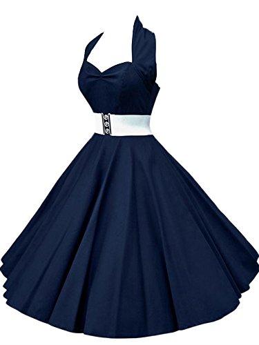 VKStar®Abito Retrò Chic Stile Halter Vintage 1950 Audrey Hepburn Vestito da Cocktail Femminile Rockabilly Swing Abito Classico Anni 50 Blu Marina S