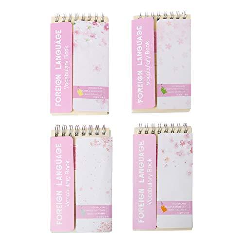Qianqian56 Kirschblüten-Notizbuch mit englischsprachiger Sprache, Notizbuch, Schreibwaren