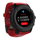 Men Women Sports GPS WatchTouch Screen GPS Running Watches Wrist Heart Rate Monitor Outdoor Navigation With GPS Location for Running Cycling and Walking Indoor/Outdoor Sport (Red with Black Dial)