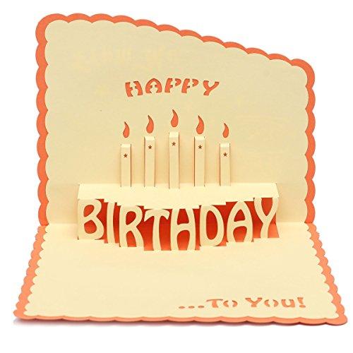 Tutoy Alles Gute Zum Geburtstag 3D Grußkarte Pop Up Geburtstagsfeier Grußkarte Mit Umschlag -Orange