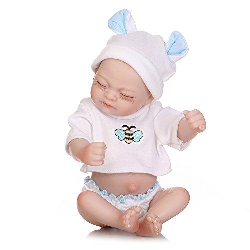 ZBYY Simulation Emuliert Puppe Babys Reborn Baby Dolls Weiches Silikon Lebensechte Spielzeug Geschenk 10Zoll 26cm - Elektro-roller-rampen