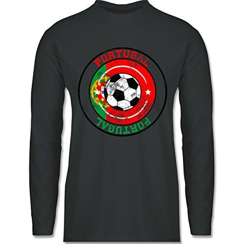 EM 2016 - Frankreich - Portugal Kreis & Fußball Vintage - Longsleeve / langärmeliges T-Shirt für Herren Anthrazit
