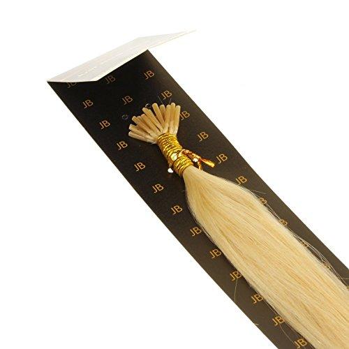 Just Beautiful Hair and Cosmetics Lot de 25 extensions en cheveux naturels Remy avec micro anneaux en forme de I Blond doré 40 cm 0,5 g