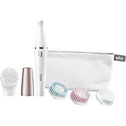 Braun Face 851 - Mini-Facial Electric Hair Removal Epilator for Women with 4 Facial Cleansing Brushes and Beauty Pouch