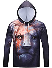 BUSIM Men's Long Sleeved Sweater Autumn Winter Lion Head Print Casual Slim Hooded Pullover Sweatshirt Jacket Jacket...