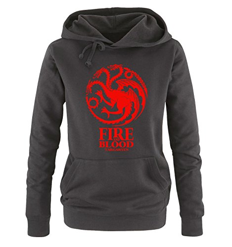 Comedy Shirts – Game of Thrones – FIRE AND BLOOD – Damen Hoodie – Schwarz/Rot Gr. M