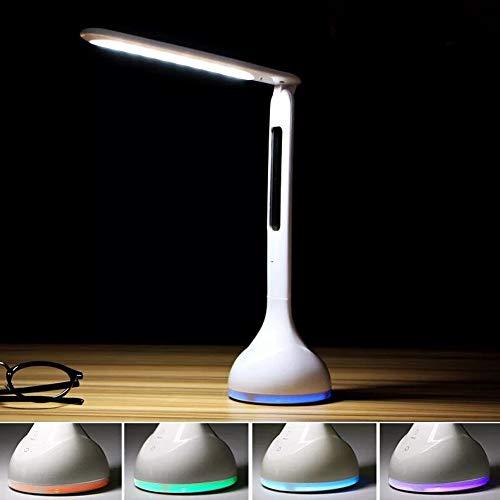 MElnN LED Schreibtischlampe Touch Control Light Dimmbar Nachttisch & Tischlampe mit Kalender, Wecker, Temperatur 3 Stufen Helligkeit Augenpflege Touch-Lampe, weiß, Free Size -