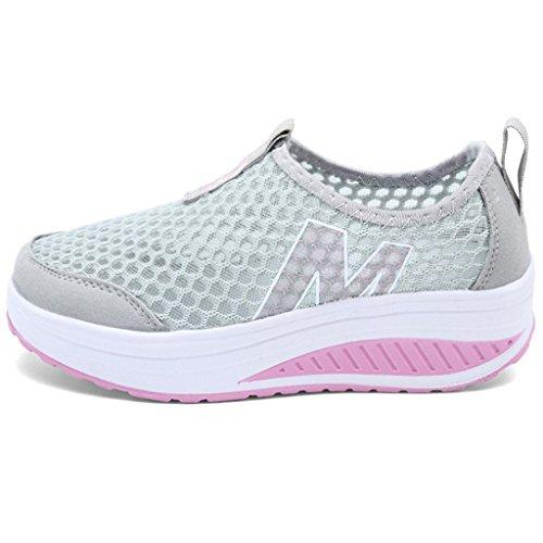 Hishoes Femme Mailles Baskets Compensée Plateforme de Léger Chaussures de Marche Fitness Gym Sport