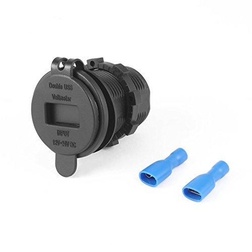 ARDUTE wasserdichte hitzebeständige 12 V DC Motorrad Auto 3.1A Dual USB LED Ladebuchse Spannung Voltmeter Outlet Panel -