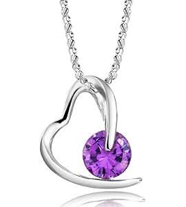 925 Sterling Silber österreichischen Lila Kristall Herz Form Anhänger Halskette mit sterling silber 45cm Kette