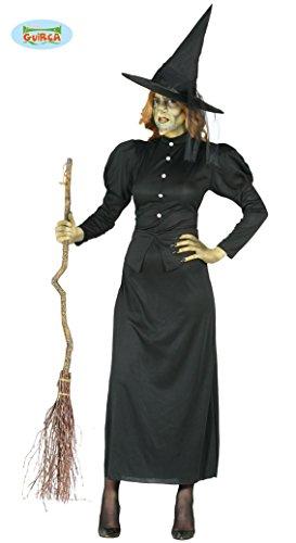 Böse Hexe Kostüm für Damen Hexen Kleid Schwarz Halloween Hexenkostüm Gr. M - L, Größe:L