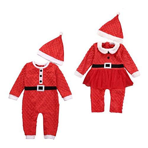 Weihnachten Kleider AMUSTER Neugeborene Baby Jungen Mädchen Lange Hülse Spielanzug Overall Outfits Romper Suit mit Hut (90, (Kostüm Verbindung Tanz)
