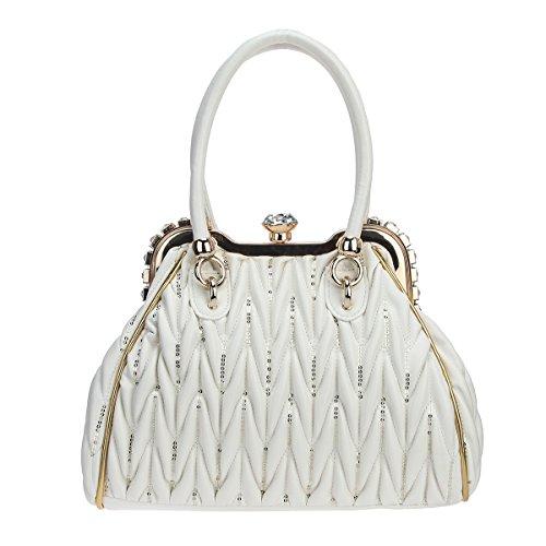 Bonjanvye Big Crystal Sequins Tote Bag for Women Shoulder Handbag with Pockets White