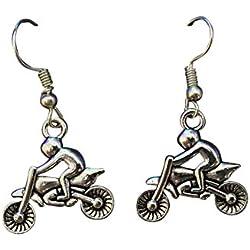 Pendientes colgantes de plata para motocicleta y motocicleta, para amantes de la motocicleta