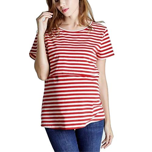 Cuteelf Still-Top, Schwangeres Stillshirt aus Baumwolle- Umstandsmode T-Shirt Damen Still Umstands-Top mit Doppelter Öffnung - Rennfahrer Zurück