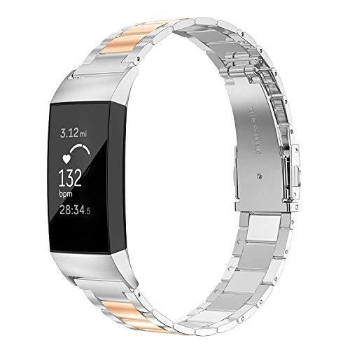 Wearlizer für Fitbit Charge 3 Armband Edelstahl Metall Leicht Ersatzband für Fitbit Charge 3 SE - Silber + Kupfer