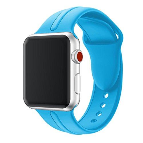 Signore orologio digitale,sonnena la cinghia molle di sport della sostituzione del silicone di sport lega per apple guarda la serie 3 orologio sport donna elegante orologio smartwatch (blu, 38mm)