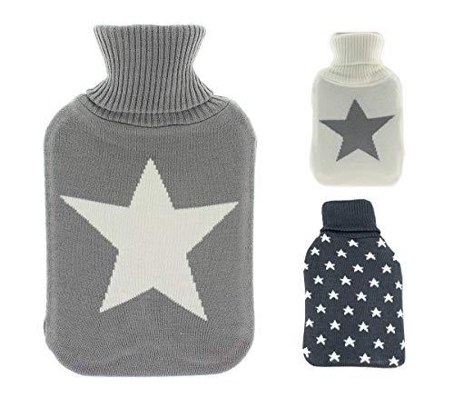 Wärmflasche 1,8 Liter Stern grau von Lilienburg/Frosch inkl. weißer Flasche Modern Design (Grau - Stern)