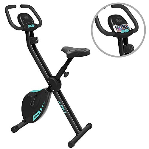 BAKAJI Cyclette Pieghevole Bici Allenamento Fitness Cardio Gambe Pancia Fianchi Bike Spinning con Sediolino Imbottito Regolabile Display LCD e Supporto Smartphone Struttura in Acciaio Inox