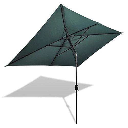 vidaXL Parasol Vert Rectangulaire Parasol de Jardin Terrasse Plage Pare-Soleil