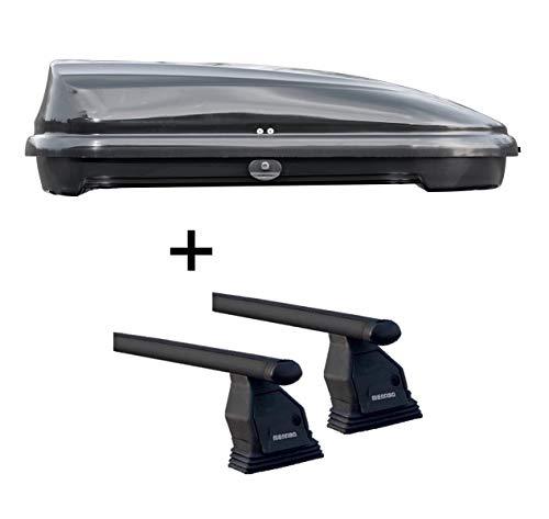 Ltr schwarz glänzend + Dachträger Menabo TEMA für Mazda 3 (5 Türer) 2009-2013 ()