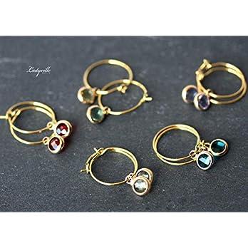 Creolen vergoldete Ohrringe/Himmlische Ohrringe/besonderer Schmuck/Geschenk für Sie/Origineller Schmuck/Geburtsstein…