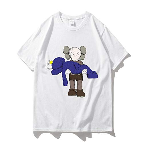 7f62dc57e7a99 Sesame Street KAWS Manga Corta Camiseta De Verano para Estudiantes Hombres  Y Mujeres Modelos Polvo Negro Camisa De Fondo Suelta 13-XS