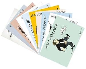 DIN A6di set di cartoline di Incognito + + molti Saluti con Loriot