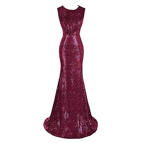 Soirée De Soirée Robe Longue Sequins Fête De Mariage Bridal Princesse Anniversaire Banquet Robe Sans Manches . Red . Us10