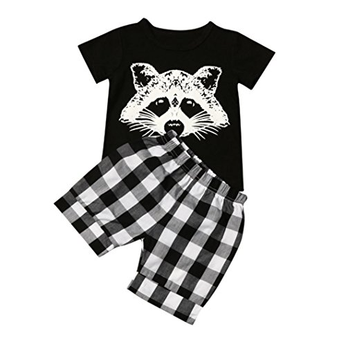 Bekeleideung Neugeborene Sommer Kleidung Set Kurzarm T-Shirt Tops Hosen Outfits Boy Kinder jungen T Shirt Tops Plaid Shorts Hosen Bekleidungssets LMMVP (12 Monate-4Jahr) (Schwarz, 110CM(4Jahr)) (Nur Shorts Plaid)