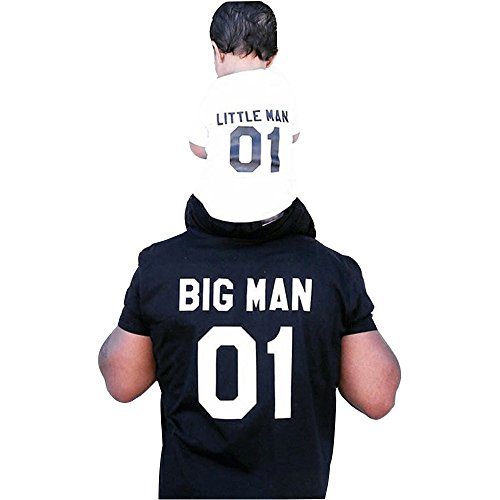 Ansenesna Dad und Baby Herren Mode Kurzarm Brief T-Shirt Freizeit Blusen Tops Familie Passende Kleidung (Baby Weiß, L) (Tank Antique Lace)