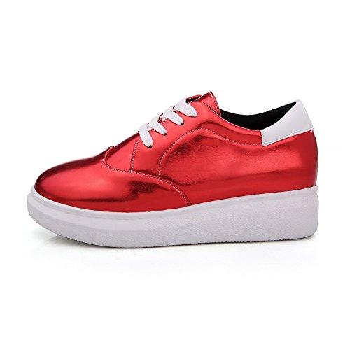 VogueZone009 Femme Lacet Rond à Talon Bas Couleur Unie Chaussures Légeres Rouge