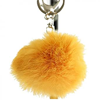 Shopping-et-Mode - Porte-clés bijou de sac pompon jaune orangé en fourrure synthétique - Jaune, Synthétique